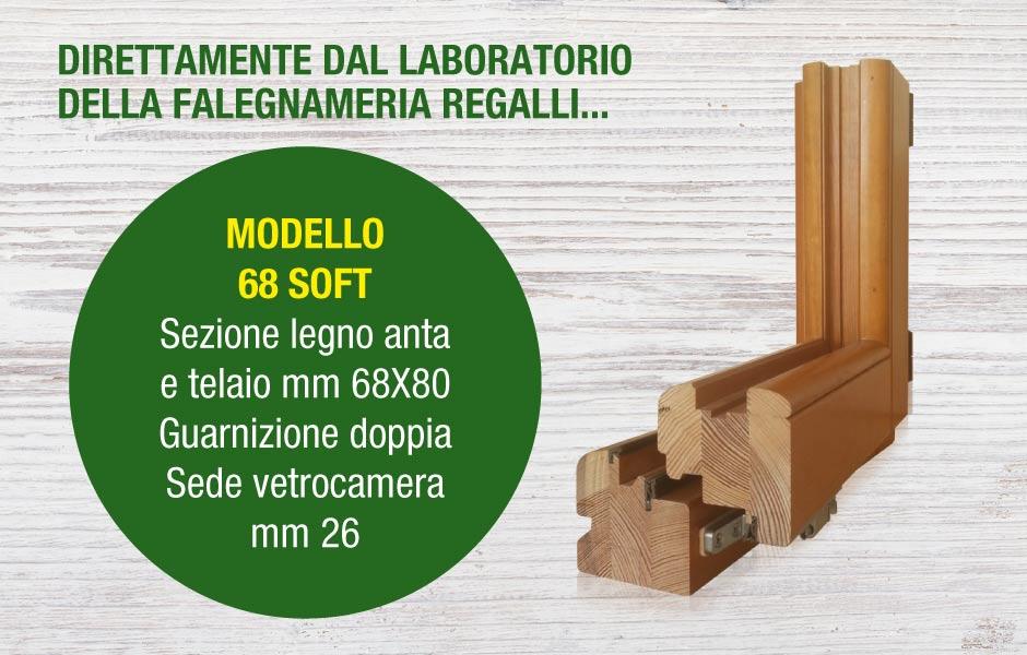 serramento in legno modello 68 SOFT produzione Falegnameria Regalli