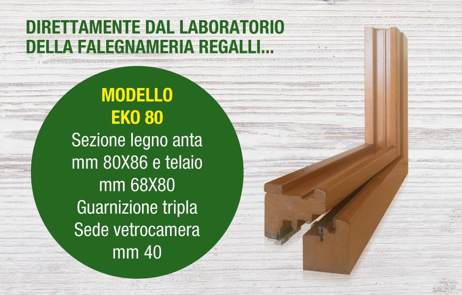serramento in legno modello EKO 80 produzione Falegnameria Regalli
