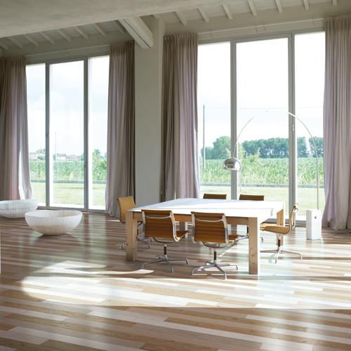 parquet bicolore in legno liscio per ufficio